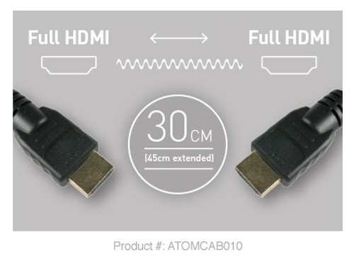 Atomos 30cm Pro Video Coiled HDMI Cable - Full HDMI to Full HDMI