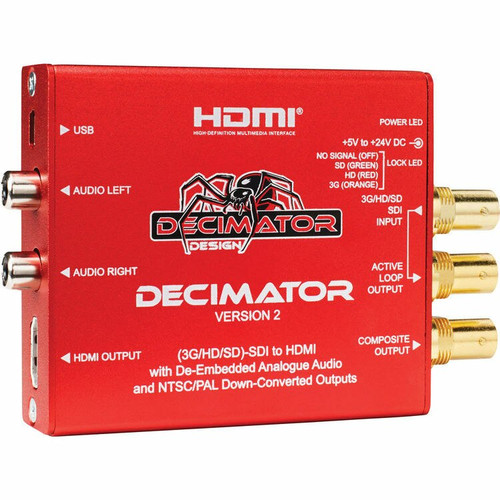 Decimator v2 3G/HD/SD-SDI to HDMI with De-Embedded Analogue Audio
