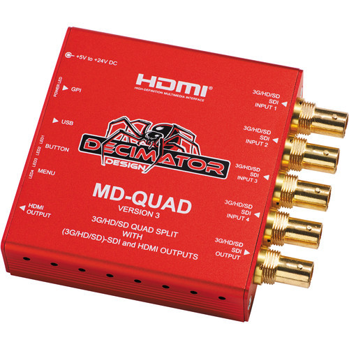Decimator MD-QUAD 3G/HD/SD-SDI Quad Split Multi-Viewer with 3G/HD/SD-SDI and HDMI Outputs