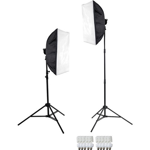 "Westcott 481 D5 2-Light Daylight Softbox Kit Includes: 2 D5 Light Heads, 10 27w Fluorescent Lamps, 2 24"" x 32"" Softboxes, 2 6.5' Light Stands."