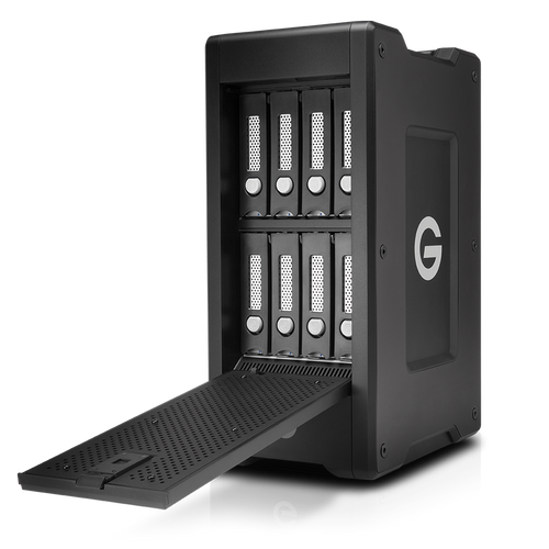 The G-SPEED Shuttle XL 48TB 8-Bay Thunderbolt 2 RAID Array from G-Technology has a transportable design that helps make it suitable for use in the field.