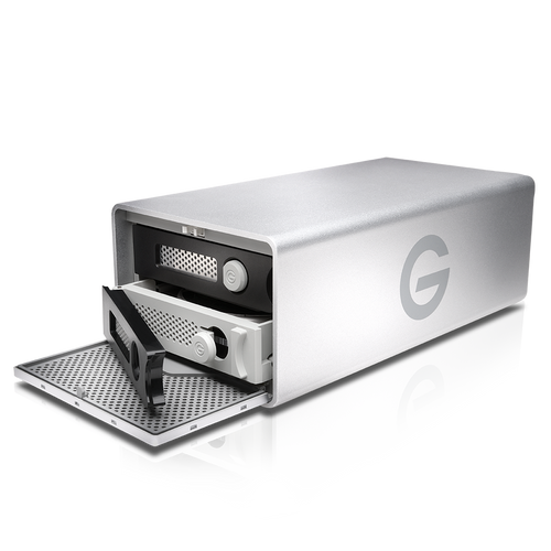 Add the speed and storage capabilities of RAID, Thunderbolt 2, and USB 3.0 to your Mac and Windows systems using the G-RAID 16TB 2-Bay Thunderbolt 2 RAID Array from G-technology