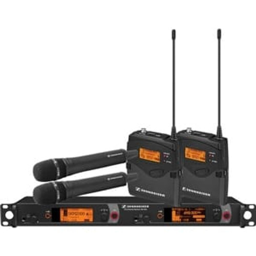 Sennheiser 2000C2-965BK-G Dual Channel Contractor System: (2) SK 2000XP bodypacks, (2) SKM 2000XP handhelds with MMK 965-1 capsules, black; (1) EM 2050 dual channel recevier  Frequency range Gw (558 / 626 MHz), main