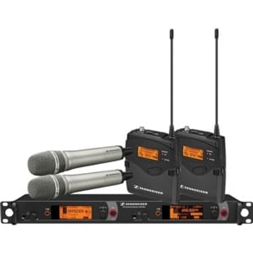 Sennheiser 2000C2-965NI-G Dual Channel Contractor System: (2) SK 2000XP bodypacks, (2) SKM 2000XP handhelds with MMK 965-1 capsules, nickel; (1) EM 2050 dual channel recevier  Frequency range Gw (558 / 626 MHz), main