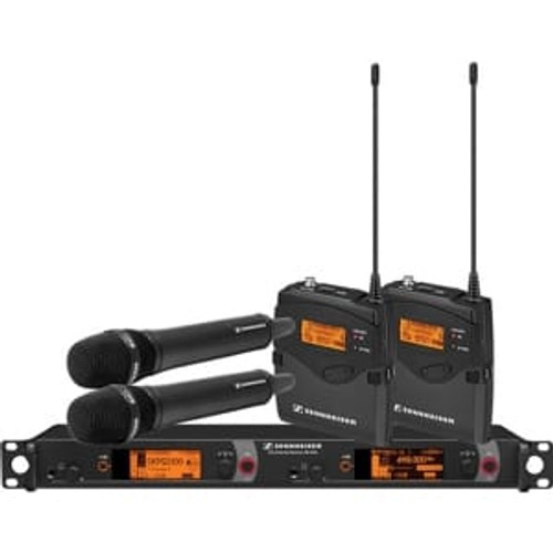 Sennheiser 2000C2-935BK-G Dual Channel Contractor System: (2) SK 2000XP bodypacks, (2) SKM 2000XP handhelds with MMD 935-1 capsules, black; (1) EM 2050 dual channel recevier.  Frequency range Gw (558 / 626 MHz), main