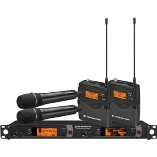 Sennheiser 2000C2-945BK-A Dual Channel Contractor System: (2) SK 2000XP bodypacks, (2) SKM 2000XP handhelds with MMD 945-1 capsules, black; (1) EM 2050 dual channel recevier  Frequency range Aw (516 / 558 MHz), main