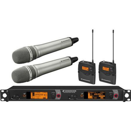 Sennheiser 2000C2-205NI-B Dual Channel Contractor System: (2) SK 2000XP bodypacks, (2) SKM 2000XP handheld with Neumann KK 205 Supercardioid capsules, nickel; (1) EM 2050 dual channel recevier.  Frequency range Bw (626 / 698 MHz), main