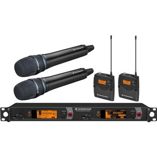 Sennheiser 2000C2-204BK-B Dual Channel Contractor System: (2) SK 2000XP bodypacks, (2) SKM 2000XP handheld with Neumann KK 204 Cardioid capsules, black; (1) EM 2050 dual channel recevier.  Frequency range Bw (626 / 698 MHz), main