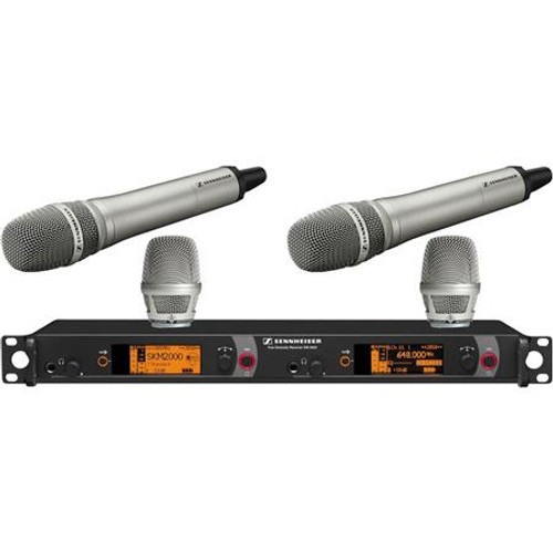 Sennheiser 2000H2-204NI-A Dual Channel Handheld System: (2) SKM 2000XP handheld transmitters with KK 204 Cardioid capsules, nickel; (1) EM 2050 dual channel recevier. Frequency range Aw (516 / 558 MHz), main