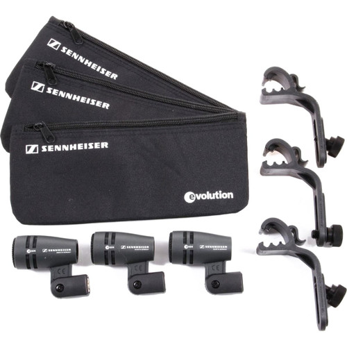 Sennheiser THREEPACK604P (3) e604 microphones with MZH604 clips and carrying pouches. 3.1 lbs.