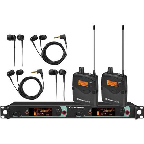 Sennheiser 2000IEM2-A Dual Channel IEM System: (1) SR 2050XP IEM dual channel stereo IEM transmitter; (2) EK 2000 IEM stereo IEM receivers with IE4 earbuds  Frequency range Aw (516 / 558 MHz), main