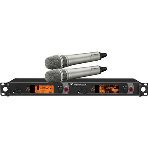 Sennheiser 2000H2-965NI-G Dual Channel Handheld System: (2) SKM 2000XP handheld transmitters with MMK 965-1 true condenser capsules, nickel; (1) EM 2050 dual channel recevier.  Frequency range Gw (558 / 626 MHz), main