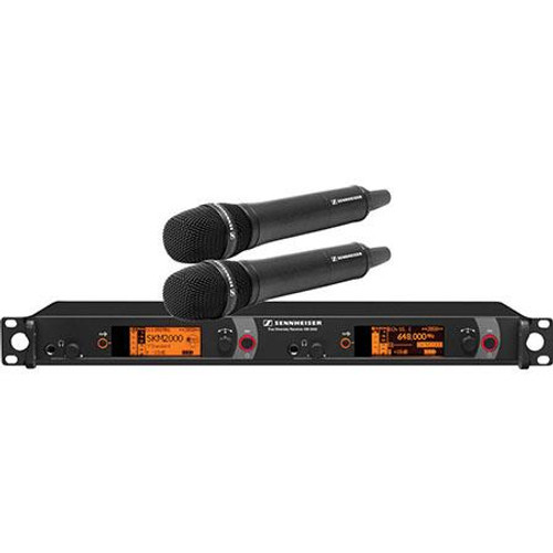 Sennheiser 2000H2-865BK-G Dual Channel Handheld System: (2) SKM 2000XP handheld transmitters with MME 865-1 polarized condenser capsules, black; (1) EM 2050 dual channel recevier.  Frequency range Gw (558 / 626 MHz), main