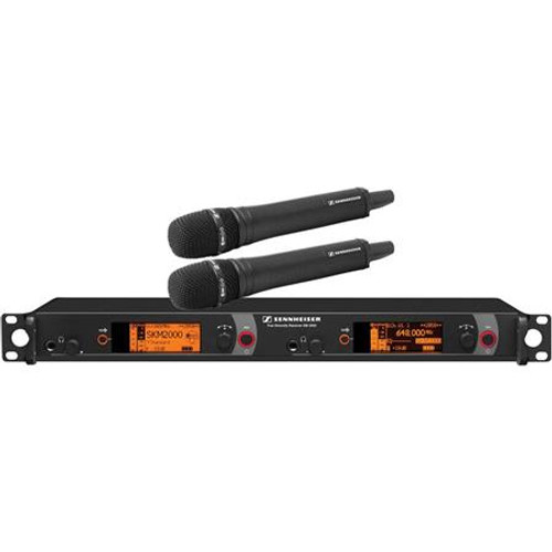 Sennheiser 2000H2-965BK-A Dual Channel Handheld System: (2) SKM 2000XP handheld transmitters with MMK 965-1 true condenser capsules, black; (1) EM 2050 dual channel recevier.  Frequency range Aw (516 / 558 MHz), main