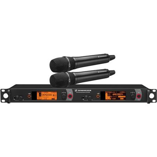 Sennheiser 2000H2-945BK-A Dual Channel Handheld System: (2) SKM 2000XP handheld transmitters with MMD 945-1 dynamic capsules, black; (1) EM 2050 dual channel recevier.  Frequency range Aw (516 / 558 MHz), main