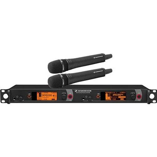Sennheiser 2000H2-965BK-B Dual Channel Handheld System: (2) SKM 2000XP handheld transmitters with MMK 965-1 true condenser capsules, black; (1) EM 2050 dual channel recevier.  Frequency range Bw (626 / 698 MHz), main