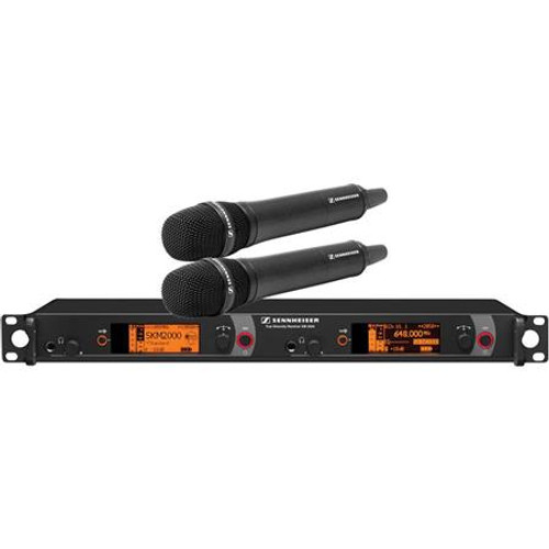 Sennheiser 2000H2-865BK-A Dual Channel Handheld System: (2) SKM 2000XP handheld transmitters with MME 865-1 polarized condenser capsules, black; (1) EM 2050 dual channel recevier.  Frequency range Aw (516 / 558 MHz), main