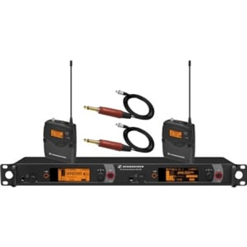 Sennheiser 2000BP2-INST-B Dual Channel Instrument System: (2) SK 2000XP bodypack transmitters with (2) CI1-4 instrument cables; (1) EM 2050 dual channel recevier.  Frequency range Bw (626 / 698 MHz), main