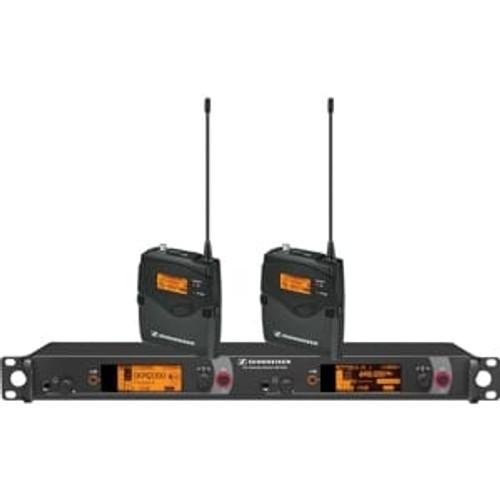 Sennheiser 2000BP2-G Dual Channel Bodypack System: (2) SK 2000XP bodypack transmitters; (1) EM 2050 dual channel recevier.  Frequency range Gw (558 / 626 MHz), main