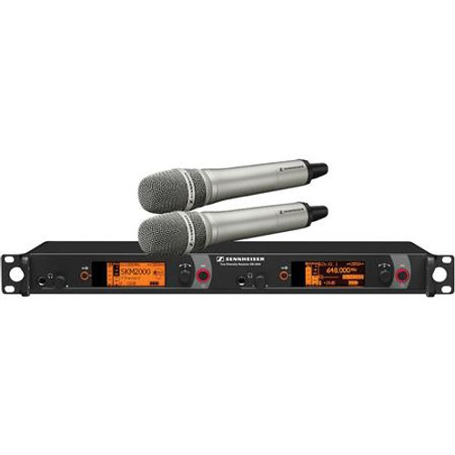 Sennheiser 2000H2-965NI-A Dual Channel Handheld System: (2) SKM 2000XP handheld transmitters with MMK 965-1 true condenser capsules, nickel; (1) EM 2050 dual channel recevier.  Frequency range Aw (516 / 558 MHz), main