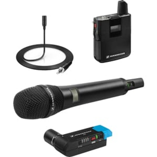 Sennheiser AVX-COMBO SET-4-US ENG Set: Includes handheld transmitter with MD 42 capsule, bodypack transmitter, EKP plug-on receiver and ME 2 lavalier, main