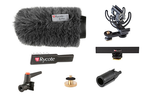 "Rycote 116011 15cm Standard Hole Classic-Softie Camera Kit (19/22), incl. Classic-Softie Windshield, hairbrush, InVision Video (Hot Shoe) Duo-Lyre Shockmount, 10cm Hot Shoe Extension, 3/8"" Boom Swivel with Lever Camera Mic Clamp/Hot Shoe Adaptor, 1/4"" Adaptor"