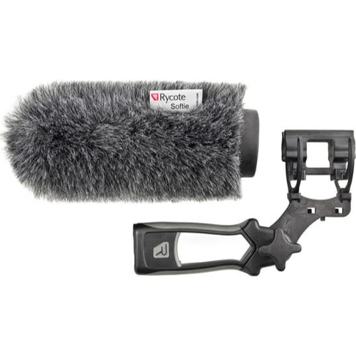 Rycote 033342 15cm Standard Hole Classic-Softie Kit (19/22) with Duo-Lyre® Mount & Pistol Grip Handle with 40cm XLR-3 Mic Tail Cable