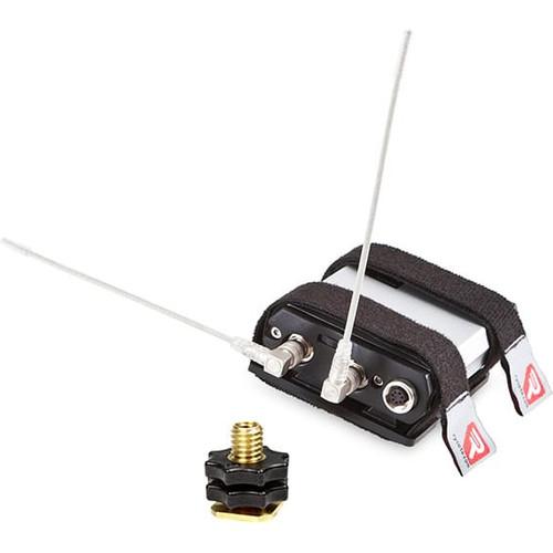 "Rycote 157406 Wireless Receiver Bracket mkII, Universal bracket for mounting wireless receivers on a camera, 1/4"" attachment & Hot Shoe"
