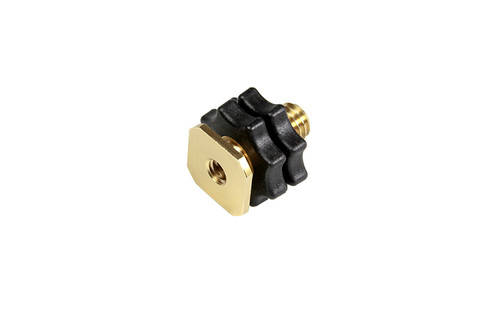 """Rycote 047305 3/8"""" Female to 1/4"""" Male Combo 2, Swivel Adaptor - with 3/8"""" Hotshoe and 10cm Hotshoe Extension, machined brass"""