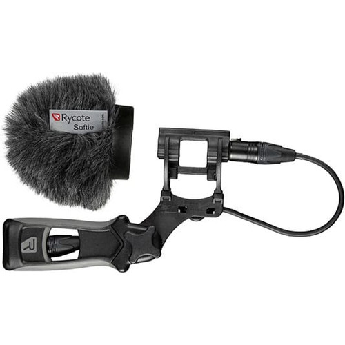 Rycote 033313 5cm Large Hole Classic-Softie Kit (24/25) with Duo-Lyre® Mount & Pistol Grip Handle with 40cm XLR-3 Mic Tail Cable