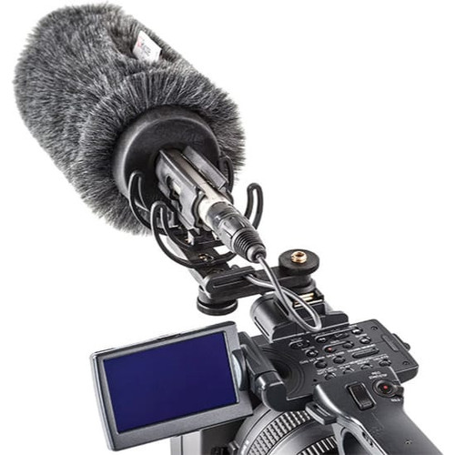 "Rycote 116010 12cm Standard Hole Classic-Softie Camera Kit (19/22), incl. Classic-Softie Windshield, hairbrush, InVision Video (Hot Shoe) Duo-Lyre Shockmount, 10cm Hot Shoe Extension, 3/8"" Boom Swivel with Lever Camera Mic Clamp/Hot Shoe Adaptor, 1/4"" Adaptor"