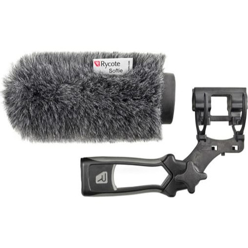 Rycote 033332 12cm Standard Hole Classic-Softie Kit (19/22) with Duo-Lyre® Mount & Pistol Grip Handle with 40cm XLR-3 Mic Tail Cable