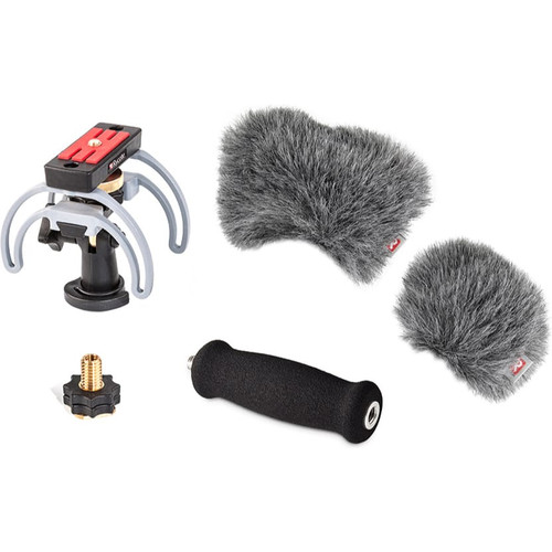 Rycote 046023 Portable Recorder Kit for Zoom H6, incl. Shockmount HG, (2) Mini Windjammer® and Extension Handle