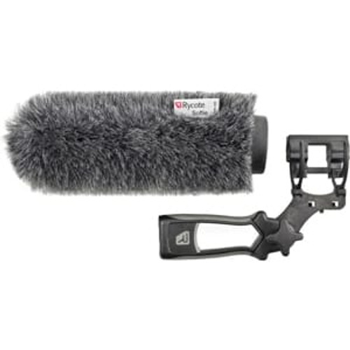 Rycote 033353 18cm Large Hole Classic-Softie Kit (24/25) with Duo-Lyre® Mount & Pistol Grip Handle with 40cm XLR-3 Mic Tail Cable