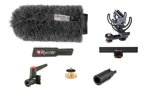"Rycote 116012 18cm Standard Hole Classic-Softie Camera Kit (19/22), incl. Classic-Softie Windshield, hairbrush, InVision Video (Hot Shoe) Duo-Lyre Shockmount, 10cm Hot Shoe Extension, 3/8"" Boom Swivel with Lever Camera Mic Clamp/Hot Shoe Adaptor, 1/4"" Adaptor"