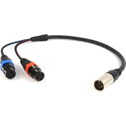 Remote Audio CAXSTEX5M Balanced stereo breakout cable. (2) XLR3F to XLR5M. 18 in. (5 in. fan).