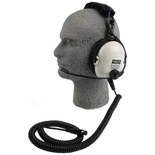 Remote Audio HN7506EBC High noise isolation headset with electret talkback microphone. 1.75 ft. collapsed, 8 ft. expanded.