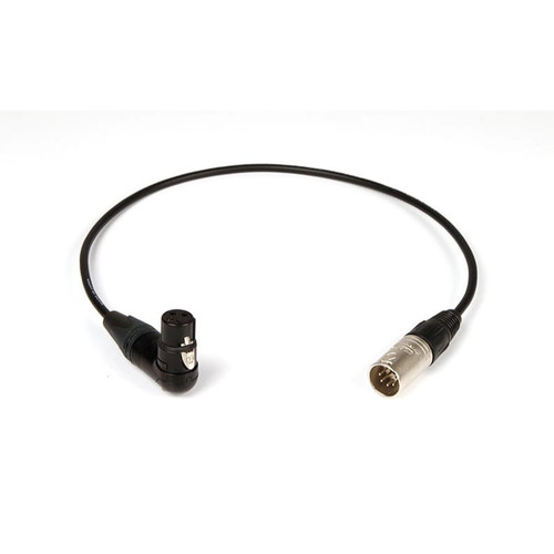 Remote Audio CAHDX3/5MR Balanced adapter cable. XLR3F RA to XLR5M. Mono signal split to both channels of a stereo input. 18 in.
