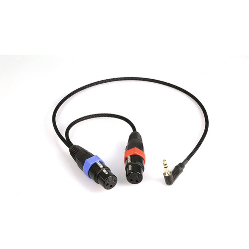 Remote Audio CAMCXYD Unbalanced breakout cable for stereo mini-cam inputs. (2) XLR3F to 3.5mm RA TRS plug. Contains DC blocking capacitors. 18 in. with 6 in. pigtail. Replaces CAMCXY