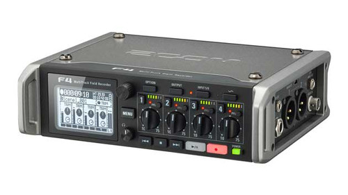 Zoom F4 Multitrack Field Recorder Left Angle
