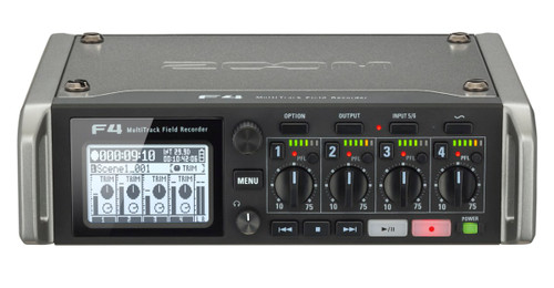 Zoom F4 Multitrack Field Recorder Front Angle