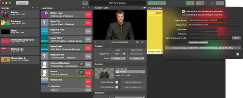 mimoLive software interface