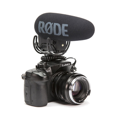 Rode VideoMic Pro+ with Rycote Lyre Suspension Mount mounted on DSLR camera right side
