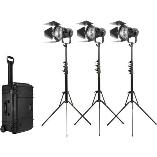 Fiilex K305 Pro: Three Light P360 Pro with 5 inch Fresnel Zoom Lens Travel Kit