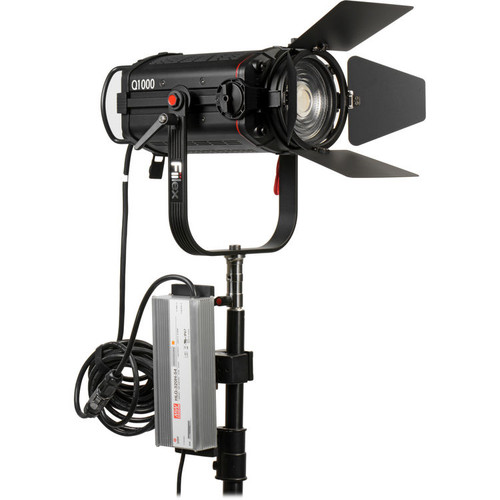 "Fiilex Q1000-DC Unit (Includes Barndoor, 5"" Fresnel, Power Adapter with 20' PowerCon Cable)"