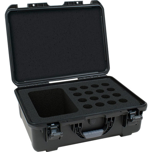 Gator cases GM-16-MIC-WP Black waterproof injection molded case with foam insert to accommodate 16 handheld mics and accessories, main