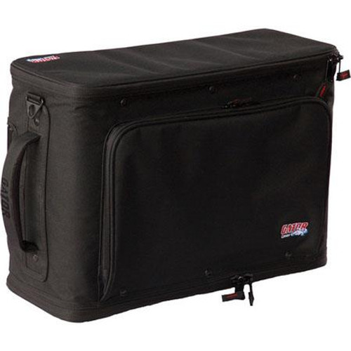 Gator cases GR-RACKBAG-4UW 4U Lightweight rolling rack bag with retractable tow handle, aluminum frame and PE reinforcement, left