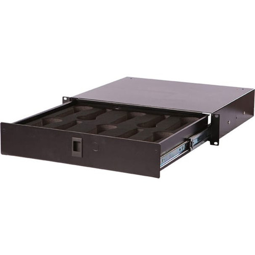"Gator cases GRW-DRWMIC10 Gator Rackworks Rack Drawer; 14.2"" Deep; Lockable; Interior has Insert for 10 Microphones; 2U, main"