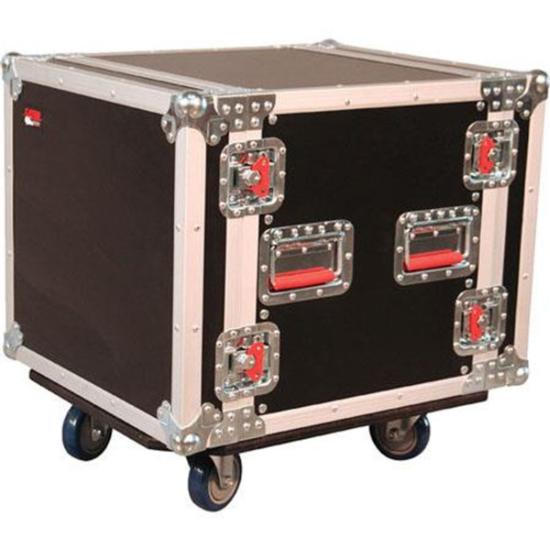 "Gator cases G-TOUR 10U CAST ATA Wood Flight Rack Case; 10U; 17"" Deep; w/ Casters, left"