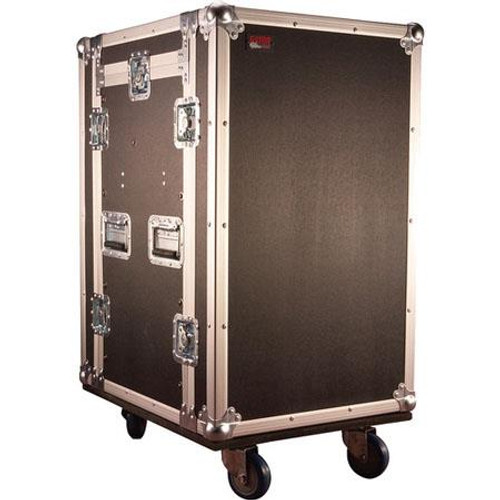 Gator cases G-TOUR 10X16 PU ATA Wood Flight Pop-Up Console Rack Case; 10U Top; 16U Bottom; w/ Casters, main